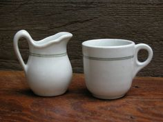 Child Size Green Stripe Cup and Pitcher by RedoneAndVintage, $18.00