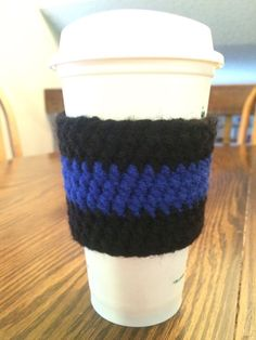 Crochet Thin Blue Line Coffee Cozy Cup Sleeve Police Sheriff Law Enforcement | eBay