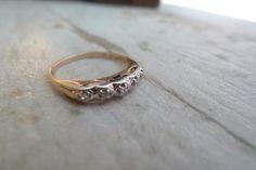 Vintage Engagement Ring, Vintage Wedding Band, Art Deco Wedding Band, 14K Gold, Estate Ring, Size 5