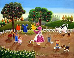 Drying the Clothes by Maria Elena Revuelta - GINA Gallery of International Naive Art