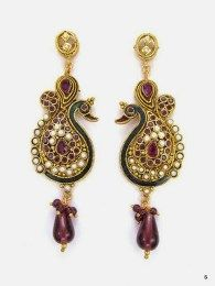 Traditional Peacock Style Earrings With Purple Color Beads