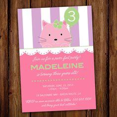 Kitten Birthday Invitation Cats Kitty Cat by ScriptivaPaper