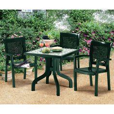 Chaise en fer forgé et acacia plante - Montego - Chaises de jardin ...