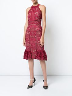 444c8f46e59 Marchesa Notte Приталенное Кружевное Платье - Farfetch