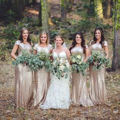 Bridesmaids in rose gold dresses are one of 2014's most stunning wedding trends! See our favorite looks. Photo via Geoff Duncan.