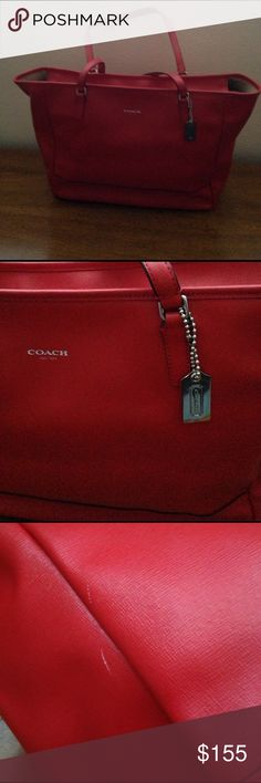 Tote Red Coach Tote. Small flaw on the side, barely noticeable. Otherwise in great condition inside and outside. I used it once. Coach Bags Totes