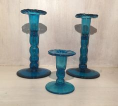 Vintage Hand Blown Teal Glass Candlesticks (2 Tall, 1 Short) by…