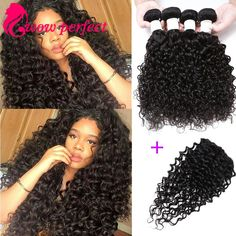 wet and wavy virgin brazilian hair with closure brazilian virgin hair water wave with closure 4 bundles human hair with closure
