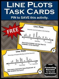 Here are FREE math task cards for your students to practice interpreting line plots.They work well in 2nd grade, 3rd grade and special education math centers and stations.Student may play SCOOT games or other fun activities. You may use them as a review, test prep or as a quick formative assessment. Task cards are a great alternative to worksheets. They are Common Core aligned for your lesson plans.