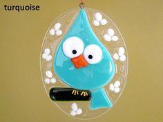 Easter Egg Blue Bird Fused Glass Ornament by FleetingStillness