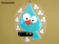 Easter Egg Blue Bird Fused Glass Ornament by FleetingStillness