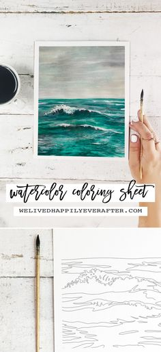 Watercolor Coloring Sheet (For Adults!) Playful Ocean Wave Painting -Perfect For A DIY Girls Painting Party Night! Ocean Wave Painting, Watercolor Ocean, Painting Of Girl, Watercolor Paintings, Body Painting, Watercolors, Colouring Sheets For Adults, Coloring Sheets, Greek Paintings