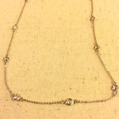 Chloe and Isabel Bezel Set CZ station necklace  Nickel free! Shiny rhodium plated! 16 inches length. Lobster clamp 2 inch extender! I have two available please do not purchase this listing. I will make one for you! Jewelry Necklaces