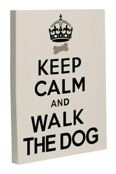Keep Calm and Walk the Dog Canvas Wall Decor