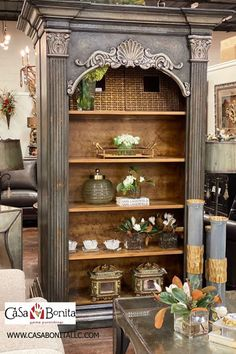 Amazing San Blas hand carved bookcase perfect for a home office or any home. Gray undertones with light distress colors on the carvings. Call for more information Tuscan Furniture, Modern Rustic Furniture, Modern Rustic Homes, Antique Furniture, Tuscan Decorating, Decorating Tips, Armoire, Classy Living Room, Tuscan House