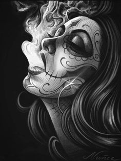 Arte Cholo, Cholo Art, Skull Girl Tattoo, Clown Tattoo, Tattoo Design Drawings, Art Drawings Sketches, Black And White Drawing, Black And Grey Tattoos, Og Abel Art