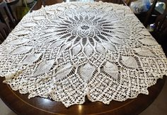 Hand Crocheted Round Tablecloth Pineapple Pattern 52 by KatsCache, $54.95