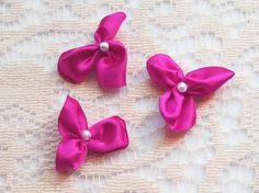 Pink Flower Buds  Satin Flowers  Flower Appliques  by IDoDoodads, $5.00