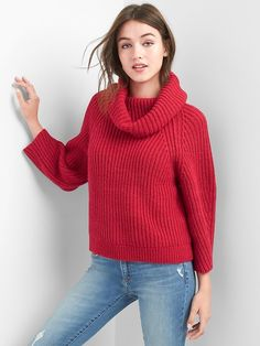 Gap Womens Shaker Stitch Turtleneck Sweater Red Apple
