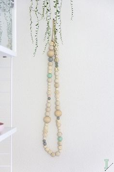 After a weekend of hard work the IDA wooden bead garlands are ready, oh yeah!I've noticed a lot of interest in the one I have behind my bed, so I decided to make a small limited col… Wood Bead Garland, Beaded Garland, Bead Crafts, Diy Crafts, Easy Arts And Crafts, Beaded Jewelry, Handmade Jewelry, Handmade Gifts, Jewellery