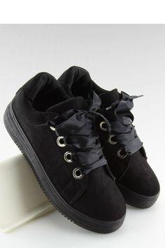 Sneakers φλατ με σατέν κορδόνια - Μαύρο. Fashion e-Shop 6192456f8f4