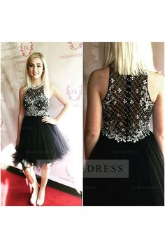 Cute A-line Scoop Knee Length Tulle Black Homecoming Cocktail Party Dress with Beading WNHD0791