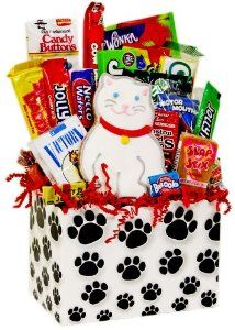 Kitty Cat Paws Retro Candy Gift Basket: Cat Gift
