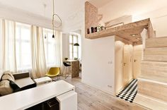 Tiny Loft Apartment Efficient Design Of A Tiny Apartment Loft In Nyc Idesignarch. Tiny Loft Apartment Compact Apartment Gets Efficient Airy Makeover I. Micro Apartment, Tiny Apartments, Tiny Spaces, Small Rooms, Apartment Design, Apartment Living, Studio Apartments, Apartment Interior, Apartment Ideas