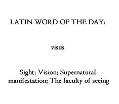 The English word vision comes from this Latin word. Unusual Words, Rare Words, Unique Words, Cool Words, Latin Quotes, Latin Phrases, Pretty Words, Beautiful Words, Latin Language