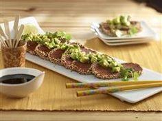 sesame spam with avocado salad