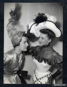 Suzanne Talbot (Millinery) 1950 Modèle Cage d'or Hat Original Press Photo Robert Cohen