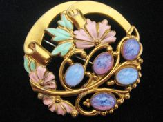 Vintage Brass and Enamel Pin with Czech Satin Glass Pin Brooch