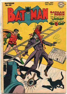 Old Comics, Batman Comics, Dc Comic Books, Comic Book Covers, Justice Society Of America, Harley Quinn Comic, Joker Art, Classic Comics, Bat Family