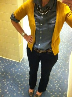 Chambray, yellow, leopard and sparkle.