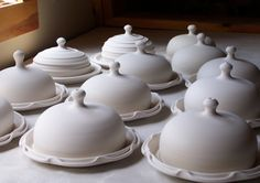 Covered Cheese Dishes Drying_Lucia Pottery