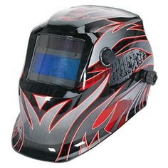 You'll be the envy of the workshop when you wear this deluxe welding helmet with auto-darkening shade lens. Welding Helmet, Welding Tools, Corte Plasma, Safety Clothing, Bicycle Helmet, Lens, Shades, Masks, Workshop