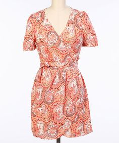 Look at this #zulilyfind! Coral Paisley Surplice Dress by Hello Miss #zulilyfinds