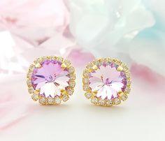 Alexandrite Earrings Iridescent Earrings Swarovski Crystal