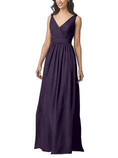 DescriptionWtoo by WattersStyle 905Fulllength bridesmaid dressV-necknecklineFull, a-line skirtDeep v back detailCrystal chiffon