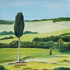 Painting - Lonely Cypress On Terrapille Close To Pienza In Tuscany by Christine Huwer