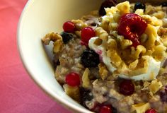 Berry Blast Oatmeal :: Frozen mixed berries are stirred right into the hot cereal while cooking & are used to top the oats before serving.