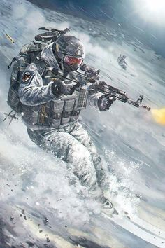 Russian special forces fighting in snow --Art Anime Military, Military Guns, Military Art, Armor Concept, Concept Art, Desenho New School, Military Drawings, Military Special Forces, Army Wallpaper