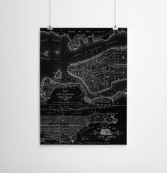 58 x 74  Vintage Map Large Print of New York by anewalldecor