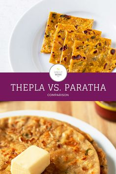 Find out the real difference between Thepla and Paratha! Breakfast Dishes, Breakfast Recipes, Snack Recipes, Great Recipes, Favorite Recipes, Delicious Recipes, Yummy Snacks, Yummy Food, Indian Food Recipes