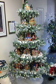 Christmas village display. I need to make this and put it on my rotating tree stand!!!!!!!!! Great idea!