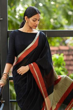 Get the ultimate guide on how to create your own designer saree blouses, with all the tops you have in your closet. Get the latest on saree drapes and new styles. All images belong to their respective owners, contact us for a credit saree Indian Blouse, Indian Sarees, Bengali Saree, Indian Attire, Indian Wear, Indian Dresses, Indian Outfits, Black Cotton Saree, Lehenga