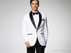 2015 Classic Groom Tuxedos Custom Made Wedding Suit For Men White Jacket With Black Satin Lapel Jacket+Pant+Tie Men's Suits, $66.34 | DHgate