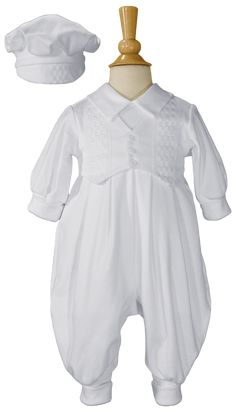 Windowpane Trim 100% Cotton Knit Christening or Celebration Coverall Outfit (Baby Boys Newborn to 20 lbs)
