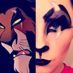 The Lion King& Scar face - Click Pic for 26 DIY Halloween Makeup Ideas for Women theatricalmakeup Soirée Halloween, Halloween Karneval, Halloween Cosplay, Disney Halloween Makeup, Simple Halloween Makeup, Fx Makeup, Cosplay Makeup, Costume Makeup, Scar Makeup