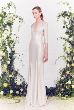 Glittering embellished ivory mermaid long evening gown v neck 3/4 sleeves